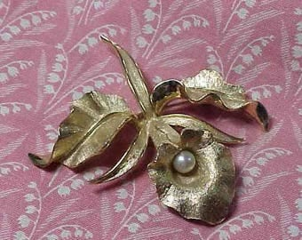 Vintage Boucher Signed Orchid Flower of the Month Brooch pin