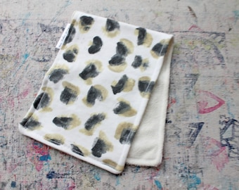 Hand-Painted Animal Print Organic Knit Burp Cloth Bamboo Terry Cloth Leopard Baby Boy Girl Shower Gift