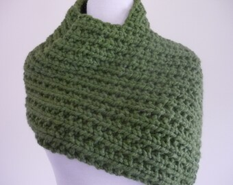 Knit Cowl, Knit Neck Warmer, Textured Rib Stitch Cowl Neck Warmer in Grass Green - Wool Blend - Soft Cowl - Warm Cowl - Ready to Ship
