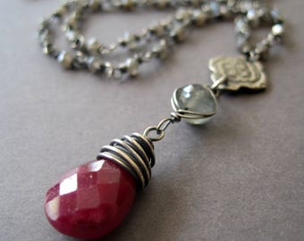 Gemstone Statement Necklace, Ruby July Birthstone, Labradorite, Moonstone, Moss Aquamarine, Long Y Necklace