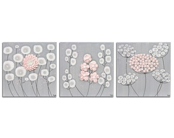Pink and Gray Nursery Wall Art Flower Paintings - Three Square Canvases for Baby Girl - Medium 32x10
