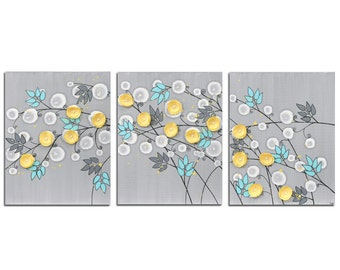 Wall Canvas Art Gray and Yellow Painting of Flowers - Three Piece Artwork Original in Gray Yellow Aqua  - Large 50x20