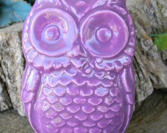 Ceramic Owl  Statue  Vintage Design  Fruit Purple  Fly Hoots for the Holidays Ready to ship items in my shop