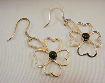 Sterling Silver and Nephrite Jade Earrings