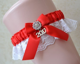 2017 Red Prom Garter With White Rachel Lace/ Red Prom Garter/ White Lace Prom Garter/2017 Charm Prom Garter