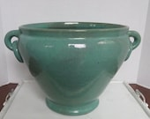 Large Ringed J.B. Cole/Nell Cole Pottery Urn/Blue Green Glaze