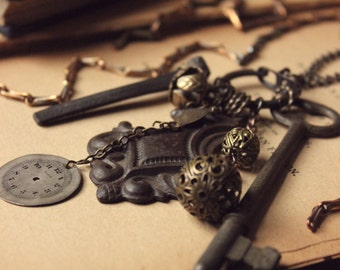 The Tinker. Rustic Bohemian Vintage and Antique Collection Necklace.