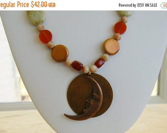On sale Copper Moon Beaded Necklace Set, Listing #188