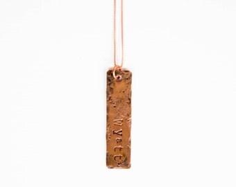 Rustic Rectangle Pendant Necklace