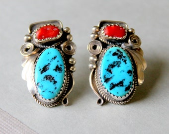 Native American Turquoise Coral Sterling Silver Earrings Navajo