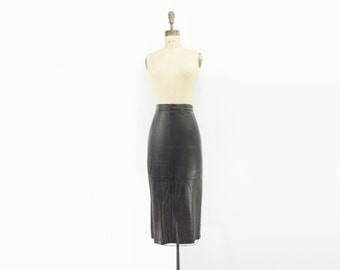 Black Leather Skirt Leather Pencil Skirt Leather Midi Skirt Black Pencil Skirt 80s Black Midi Skirt 1980s Leather Skirt m