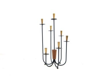 Vintage Mid Century candelabra Black skinny Metal Teak Wood tall Candle Holder Modern Ranch Home Decor Lighting Centerpiece