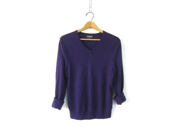 Thin Merino Wool sweater Simple Purple sweater basic Vneck Pullover women's sweater size Medium