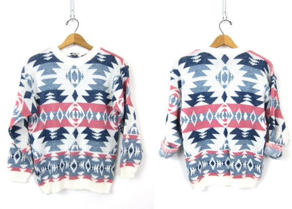 Geometric 1980s Sweater Retro Knit Graphic Pullover Pink Blue Tribal Pattern Print Hipster Urban Street Wear Vintage Size Small Medium