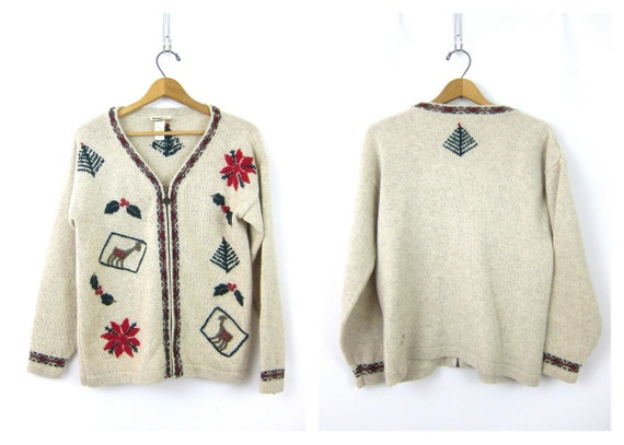 Christmas sweater Cardigan vintage oatmeal Wool Ice Skating Snowflakes Deer Zipper sweater Ugly Tacky Party Winner womens Small