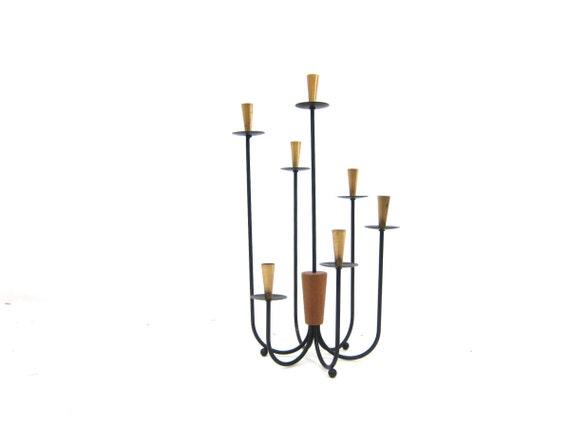 Vintage Mid Century candelabra Black skinny Metal Teak Wood tall Candle Holder Modern Ranch Home Decor Lighting Centerpiece