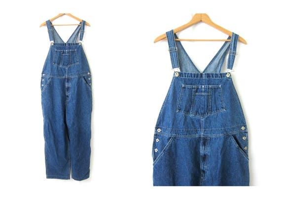 Vintage Blue Jean Bib Overalls Denim Carpenter Engineer Work Pants Farmer Bibs workwear Jeans Women's size XL Extra Large