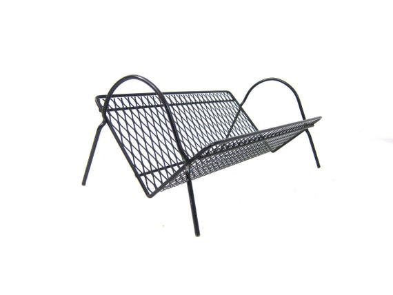 Mid Century Black Metal Shelf Free Standing for Books Filagree Perforated Metal Book Stand Shelf Modern Home Decor