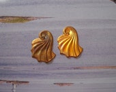 Vintage Art Deco raw brass fan shaped stamping pendant earring necklace charm, no hole, 2