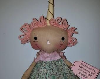 Primititve raggedy doll pattern Unicorn Wishes, Cloth doll Unicorn, Sewing Doll Pattern, PRINTED PATTERN HFTH219