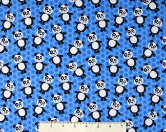 Animal Fabric - At the Zoo Panda Bear Toss on Blue Hexagons - Henry Glass YARD