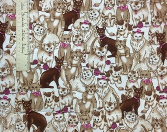FLANNEL Fabric - Brown & Beige Cats Mouse String Off White Pets YARDS