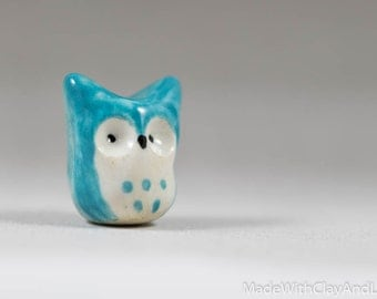 Little Blue Horned Owl - Terrarium Figurine - Miniature Ceramic Porcelain Bird Animal Sculpture - Hand Sculpted