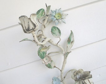 Vintage Tole Sconce * Candle Holder * Italian * Shabby Chic * Cottage