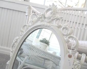 Vintage Mirror * Shabby Chic * Cottage * Syroco * White