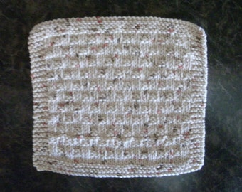 Hand Knit Dishcloth - measures approximately 81/2x9 inches