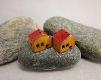 READY TO SHIP...Miniature Terracotta House Beads...Set of 2...Yellow / Red Roof