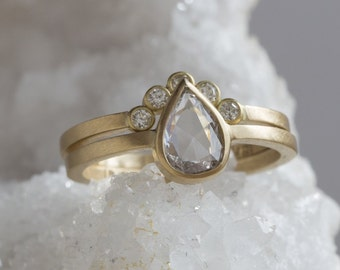 Natural Clear-White Rose Cut Diamond Ring