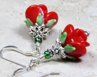 Red Rose Lampwork Glass Bead Drop Earrings, Dangle Earrings, Floral Earrings, Simple Dainty Earrings, Sterling Earrings, Flower Lampwork