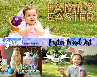 EASTER Word Art Overlays, Photoshop overlays, Photoshop overlay, Easter, spring, word art, png, quotes, die cuts, graphic design