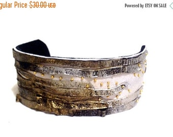 40% OFF Sale Stylish leather cuff bracelet in silver and gold color. Leather jewelry