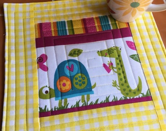 Mug Rug - Flamingo Fling / Northcott / Michele Scott / pieceful quilter / Turtle and Alligator - oversized coaster - mini placemat / quilted