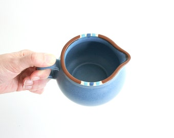 Vintage Dansk Mesa Cream Pitcher / Rustic Dansk Stoneware Pitcher in Denim Blue / Southwestern Mesa Pitcher