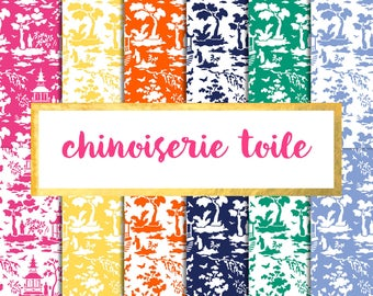 Chinoiserie Toile Digital Paper Pack (Instant Download)