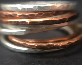 Hammered Copper Stacking Rings