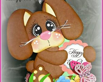 Easter Bunny Basket Box Handmade Premade Paper Piecing Embellishment Die Cut