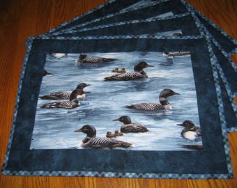 Quilted Placemats in a Loon Pattern - Set of 4