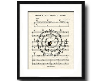 While My Guitar Gently Weeps Song Lyric Sheet Music Art Print, Spiral Song Lyric Art