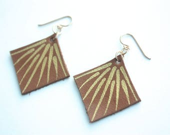 Hand Painted Leather Earrings - Light Tan Leather with 14k Gold-Fill