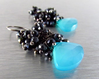 Turquoise Blue Chalcedony and Black Spinel Wire Wrapped Cluster Earrings - Black Sand Beach