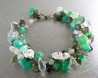 25% Off Chrysoprase Bracelet with Labradorite, Moonstone and Pearl Bracelet - Daydreaming