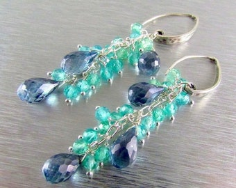 25 % OFF Denim Blue Quartz and Apatite Sterling Silver Dangle Earrings