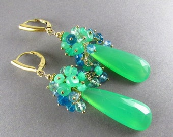 25 % OFF Chrysoprase With Apatite And Sky Blue Quartz Cluster Gold Filled Earrings