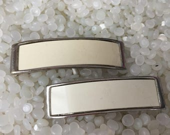 vintage barrettes, vintage 1970s barrettes, matching pair, white and silver barrettes
