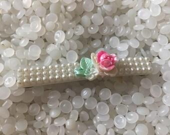 Vintage barrette, slender white barrette  with rose cabochon