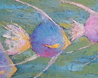 """Fish Oil Painting, Tropical Fish Painting, Palette Knife Painting, Wildlife Painting, 8x16x.75"""" Textured Art, Free shipping in US"""
